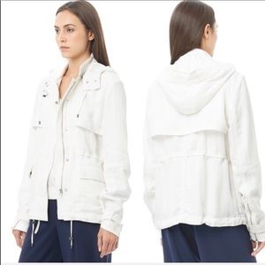 VINCE White Anorak Hooded Tencel Luxe Jacket Small